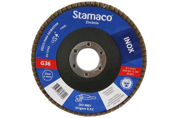 Disco Flap para Inox 115x22,23mm Grão 36 - Stamaco