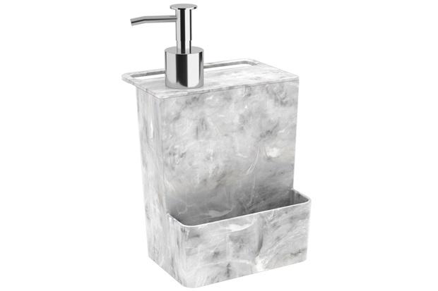 Dispenser para Detergente E Esponja Multi Glass de 600ml Mármore Branco - Coza