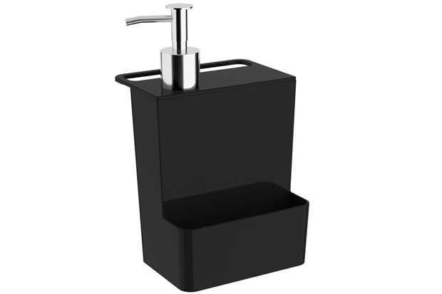 Dispenser para Detergente E Esponja Multi Glass de 600ml Preto - Coza
