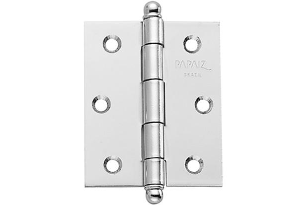 """Dobradiça para Porta em Aço sem Anel 3x2.1/2"""" Cromo Acetinado - Papaiz"""
