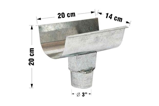 Emenda para Calha com Bocal Platibanda Galvanizada 28cm - Calha Forte