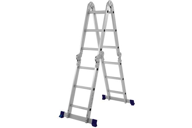 Escada Articulada em Alumínio 4x3 com 12 Degraus Cromada E Azul - MOR