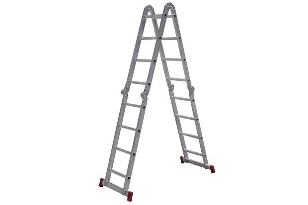Escada Articulada em Alumínio 4x4 com 16 Degraus Cinza E Vermelho - Botafogo