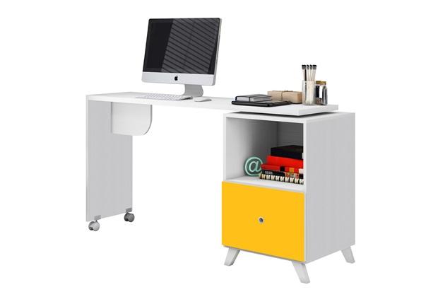 Escrivaninha Giratória Carinho em Mdp Mimo 75x142cm Branca E Amarela - Albatroz