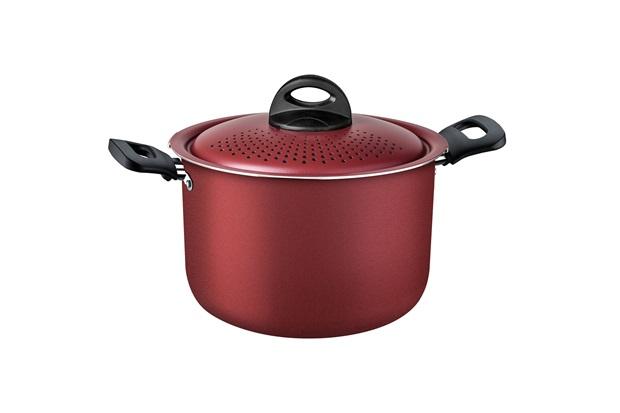 Espagueteira Antiaderente em Alumínio Loreto 22cm Vermelha - Tramontina