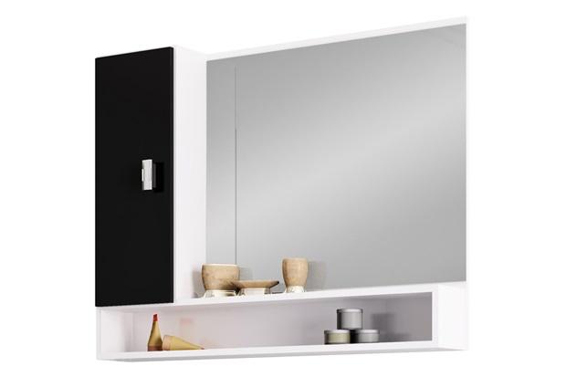 Espelheira em Mdf Orquídea 80cm Preta E Branca - Cozimax