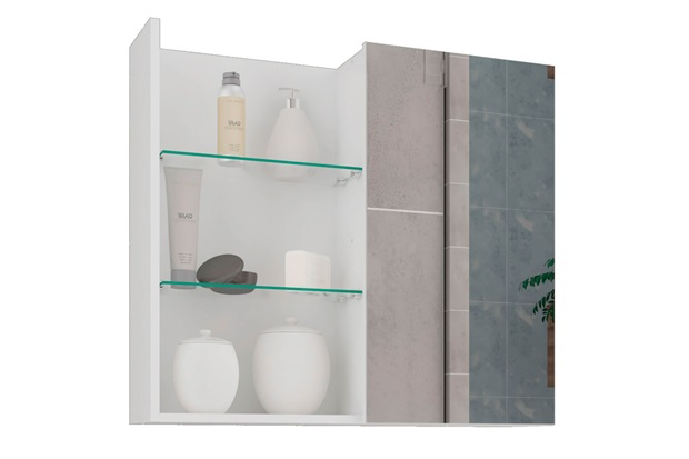 Espelheira Suspensa para Banheiro Jasmim 54x60cm Branco - MGM