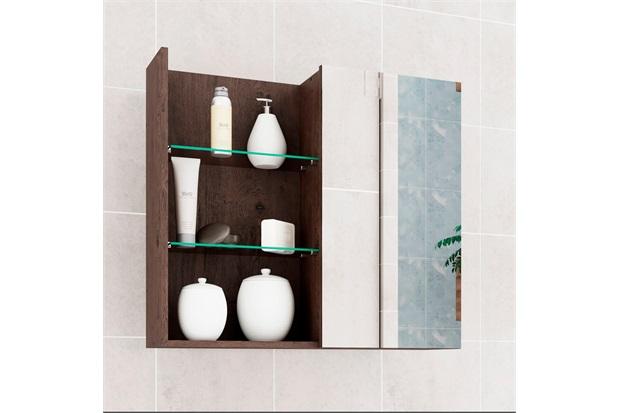 Espelheira Suspensa para Banheiro Jasmim 54x60cm Café - MGM