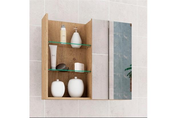 Espelheira Suspensa para Banheiro Jasmim 54x60cm Carvalho - MGM