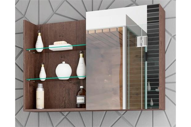 Espelheira Suspensa para Banheiro Jasmim 54x80cm Café - MGM