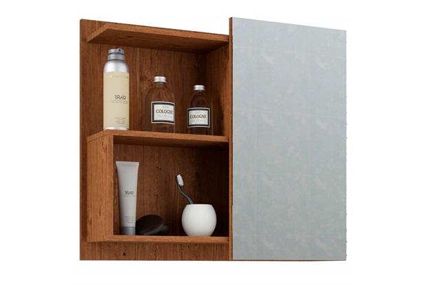 Espelheira Suspensa para Banheiro Lis 54x60cm Amêndoa - MGM