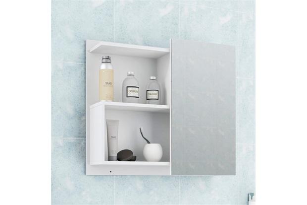 Espelheira Suspensa para Banheiro Lis 54x60cm Branco - MGM