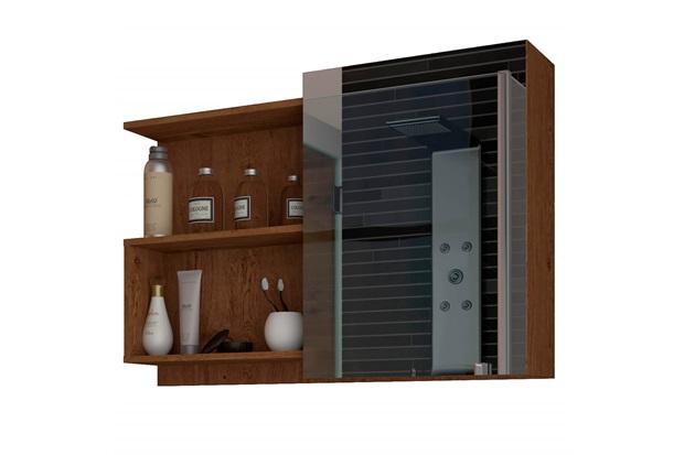 Espelheira Suspensa para Banheiro Lis 54x80cm Amêndoa - MGM