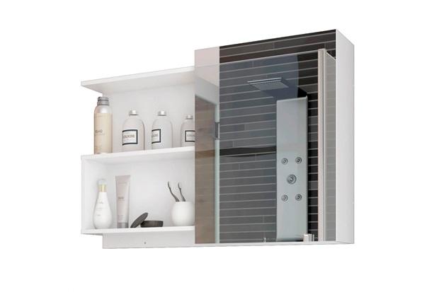 Espelheira Suspensa para Banheiro Lis 54x80cm Branco - MGM