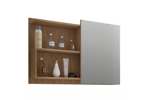 Espelheira Suspensa para Banheiro Lis 54x80cm Carvalho - MGM