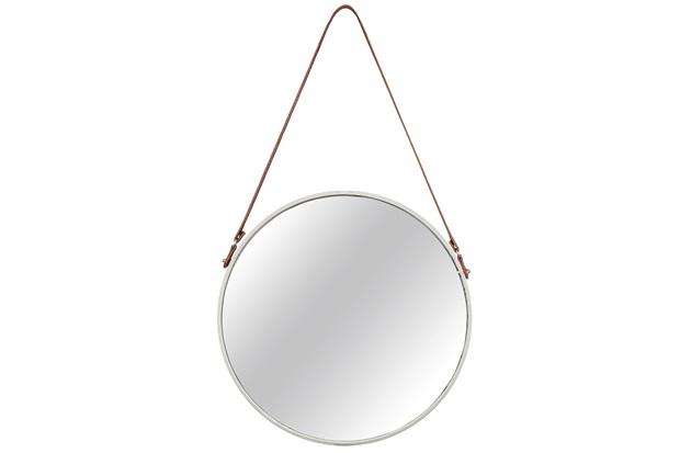 Espelho Redondo em Metal 66,5x40,5cm Off White - Mart