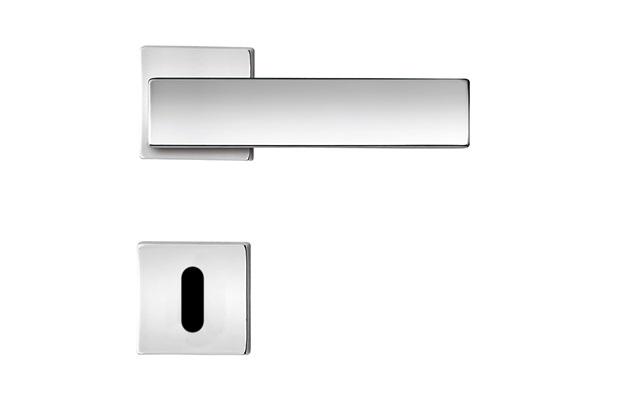 Fechadura Externa com Roseta Quadrada Design Flexa Cromada - Papaiz