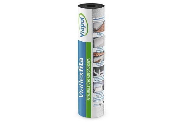 Fita Autoadesiva Impermeabilizante Viaflex 10cm com 10 Metros Aluminizada - Viapol