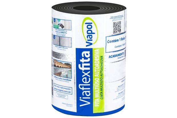 Fita Autoadesiva Impermeabilizante Viaflex 20cm com 10 Metros Aluminizada - Viapol