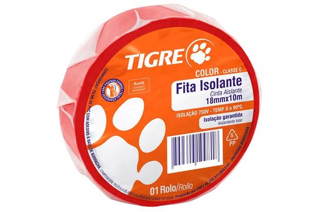 Fita Isolante Color 18mm com 10 Metros Vermelha - Tigre