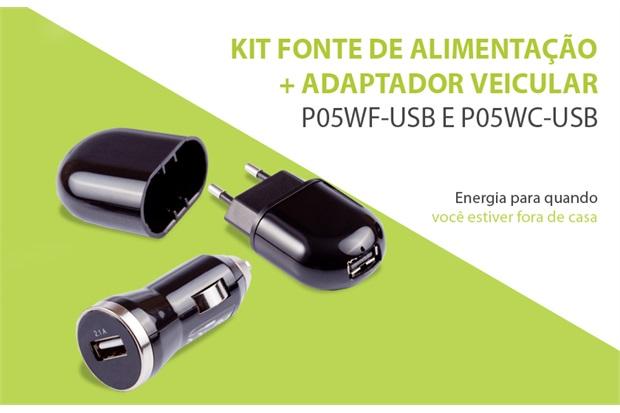 Fonte de Alimentação E Adaptador Veicular Usb Kit  - Pixel TI