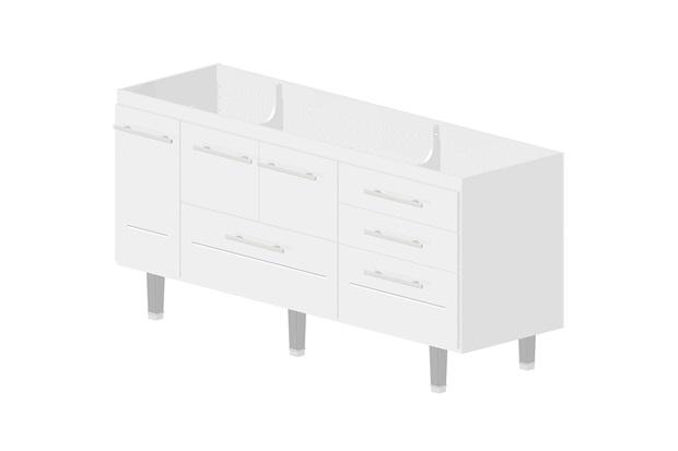 Gabinete em Mdf Life para Pia de 180cm Branco - Bonatto