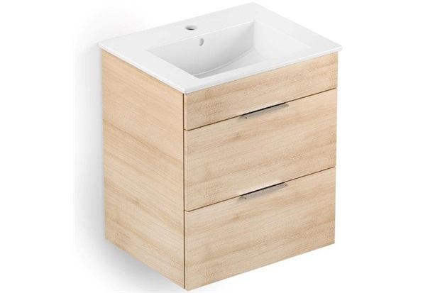 Gabinete Integrado em Mdf para Banheiro com Lavatório Cube 55x43cm com 2 Gavetas Carvalho - Celite