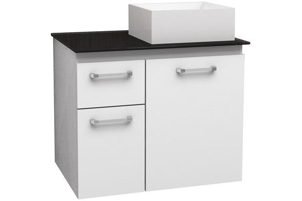 Gabinete para Banheiro em Aço com Tampo de Vidro Figo 60,8cm Branco E Preto - Cozimax