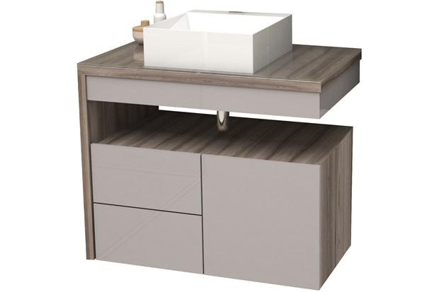 Gabinete para Banheiro em Mdf Aimoré 70cm Nude E Tamarindo - Cozimax