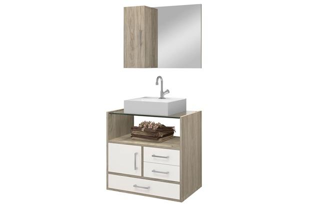 Gabinete para Banheiro em Mdf Apolo com Cuba 60cm Brunelo E Branco - Astral Design