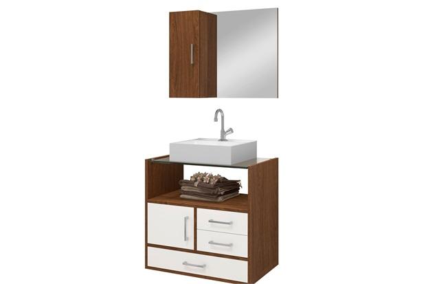 Gabinete para Banheiro em Mdf Apolo com Cuba 60cm Freijó E Branco - Astral Design