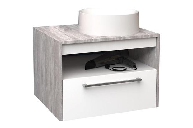 Gabinete para Banheiro em Mdf com Cuba Alfazema 60x43cm Branco E Calcare - Cozimax