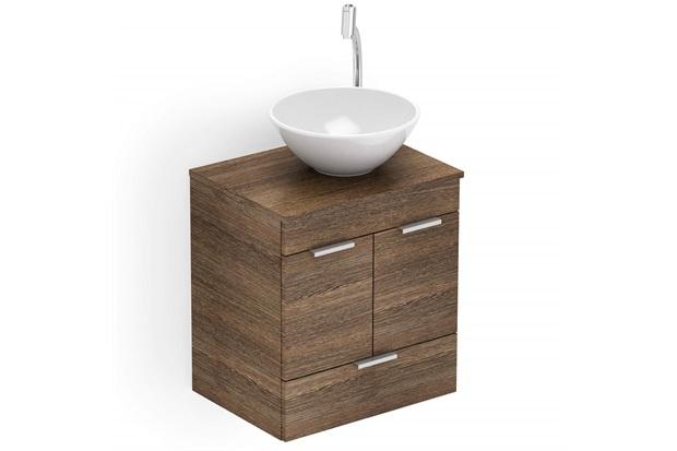 Gabinete para Banheiro em Mdf com Cuba Basic 50x38cm Wengué - Celite