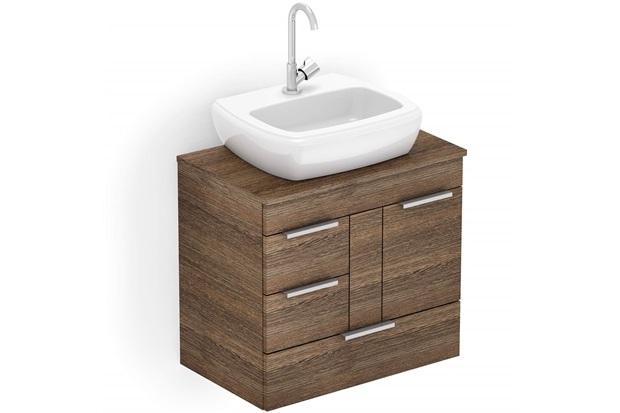 Gabinete para Banheiro em Mdf com Cuba Fit 60x38cm Wengué - Celite
