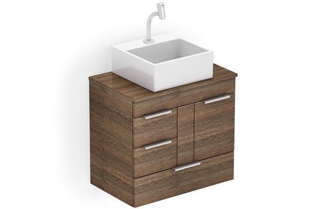 Gabinete para Banheiro em Mdf com Cuba Quadrada Basic 60x38cm Wengué - Celite