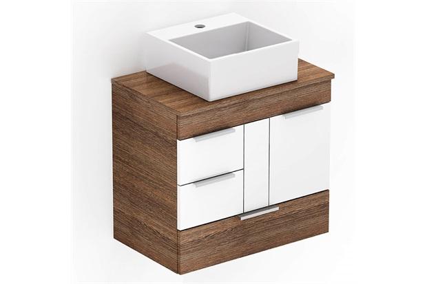 Gabinete para Banheiro em Mdf com Cuba Quadrada Basic 60x38cm Wengué E Branco - Celite