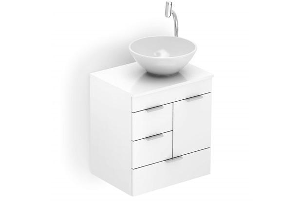 Gabinete para Banheiro em Mdf com Cuba Redonda Basic 50x38cm Branco - Celite