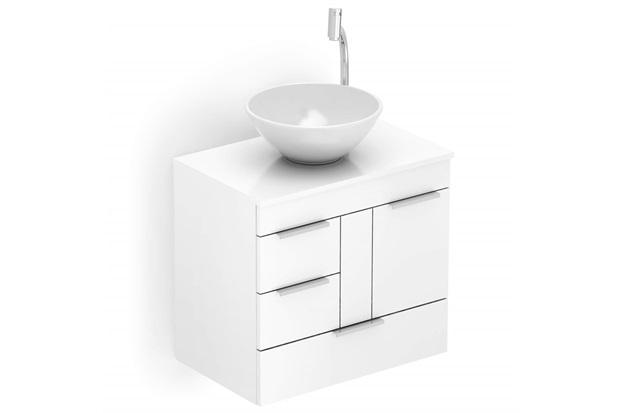 Gabinete para Banheiro em Mdf com Cuba Redonda Basic 60x38cm Branco - Celite