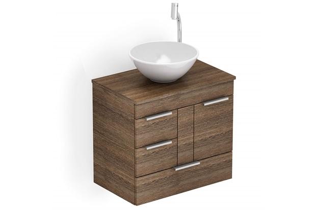 Gabinete para Banheiro em Mdf com Cuba Redonda Basic 60x38cm Wengué - Celite