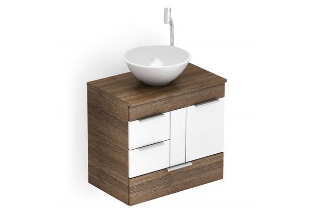 Gabinete para Banheiro em Mdf com Cuba Redonda Basic 60x38cm Wengué E Branco - Celite
