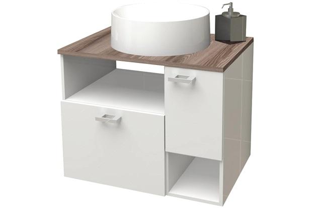 Gabinete para Banheiro em Mdf Iara 59,5x47,8cm Branco E Tamarindo - Cozimax