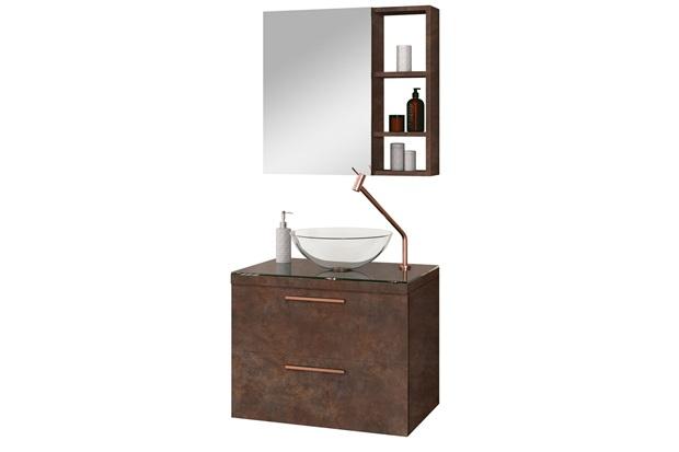 Gabinete para Banheiro em Mdf Santorini sem Cuba 60cm Corten - Astral Design