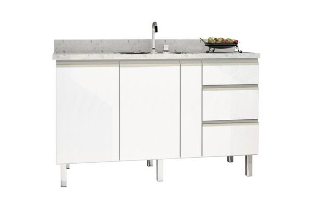 Gabinete para Cozinha em Aço Gaia 146,4x52cm Branco - Cozimax