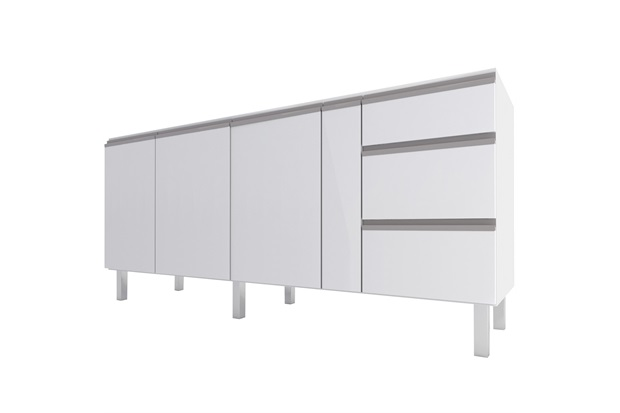 Gabinete para Cozinha em Aço Gaia 195,6x52cm Branco - Cozimax