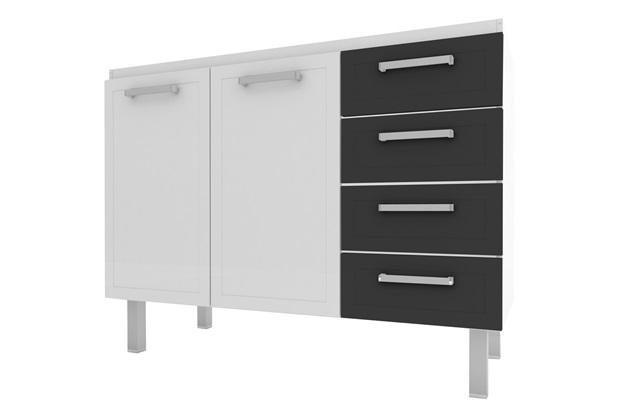 Gabinete para Cozinha em Aço Quality Flat 117,2x91cm Branco E Preto - Cozimax