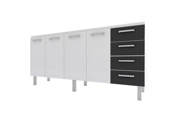 Gabinete para Cozinha em Aço Quality Flat 174cm Branco E Preto - Cozimax