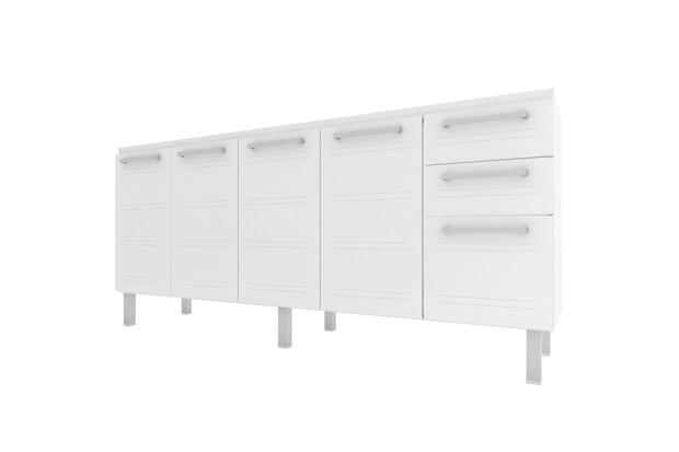 Gabinete para Cozinha em Aço Zeus Flat 174cm Branco - Cozimax