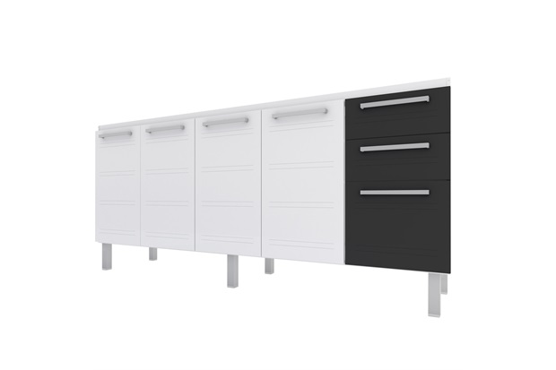 Gabinete para Cozinha em Aço Zeus Flat 174cm Branco E Preto - Cozimax