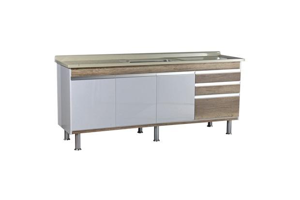Gabinete para Cozinha em Mdf Ferrara 200x70cm Carvalho - Irmãos Corso
