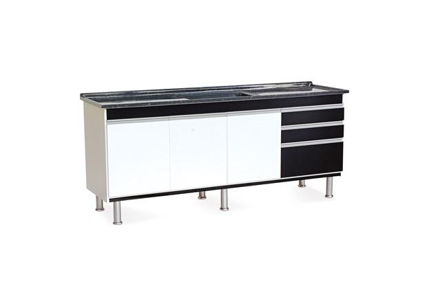 Gabinete para Cozinha em Mdf Ferrara 200x70cm Preto - Corso